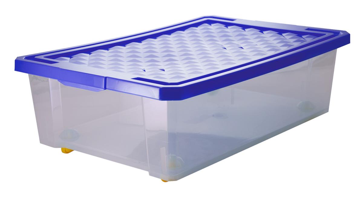 Ящик для хранения BranQ Optima, на колесиках, цвет: синий, прозрачный, 30 л ящик для хранения branq optima на колесиках цвет синий прозрачный 57 л