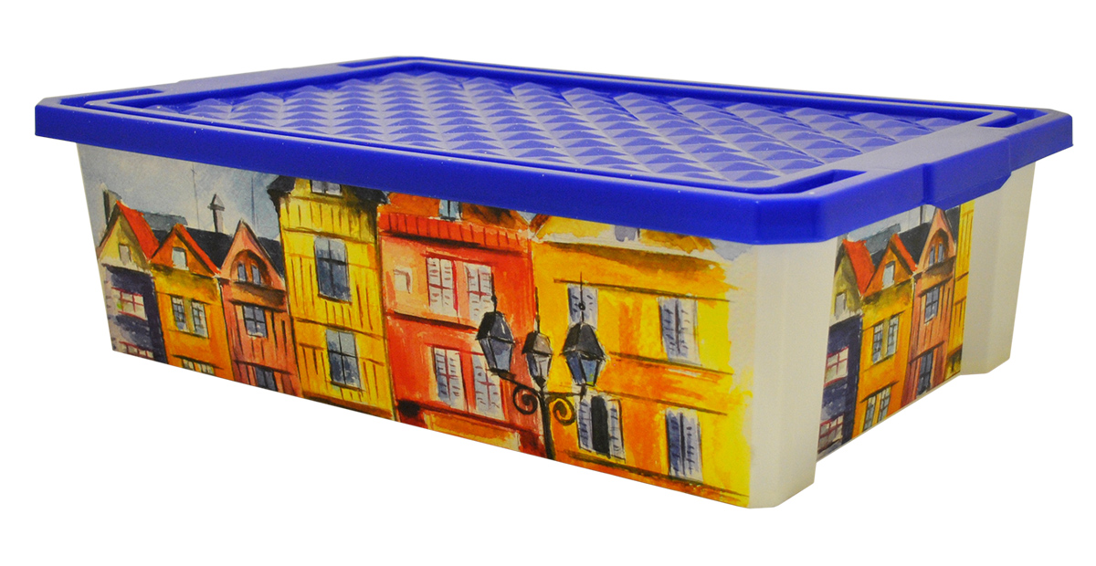 Ящик для хранения BranQ Optima. Город, 30 л ящик для хранения branq optima на колесиках цвет синий прозрачный 57 л