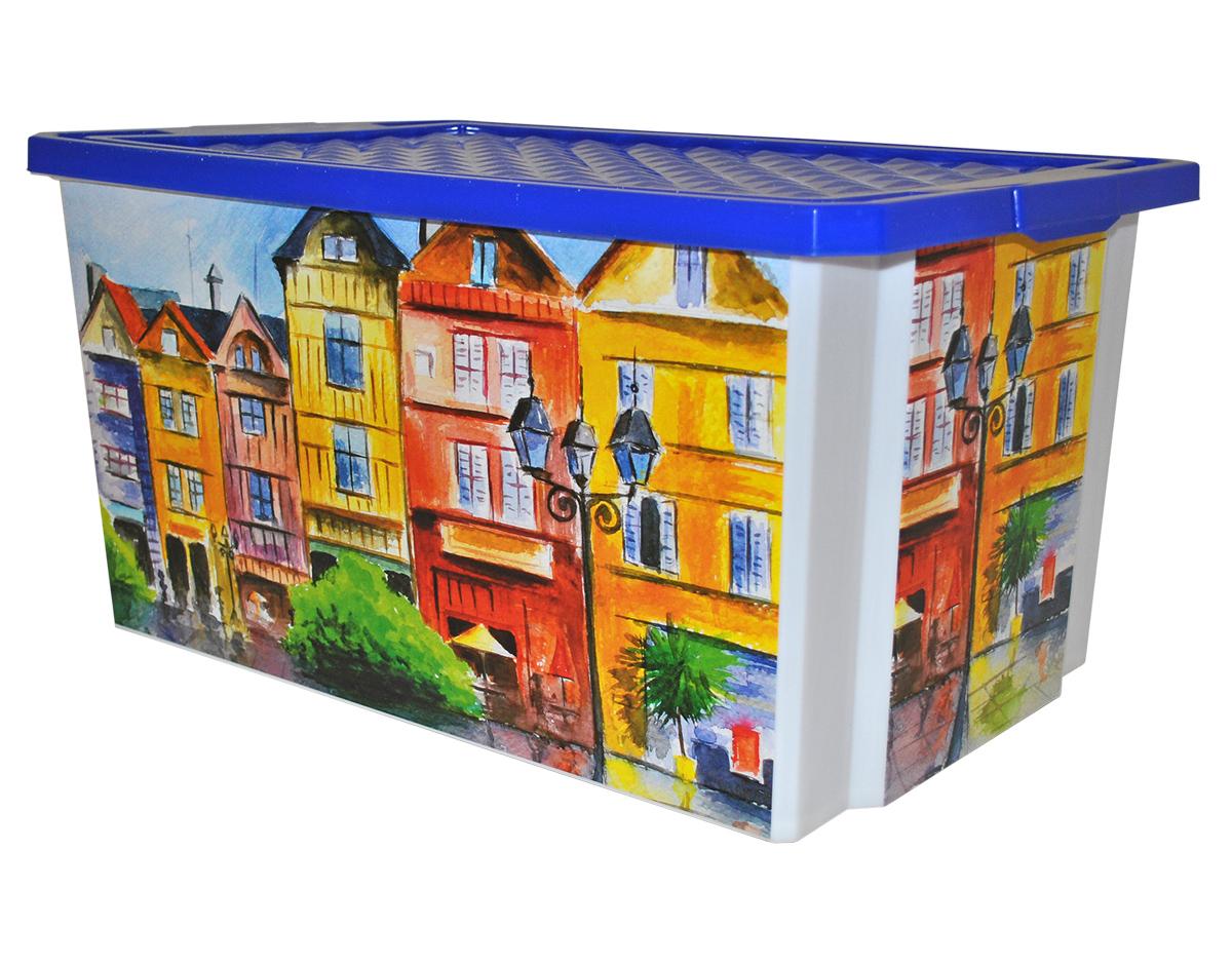 Ящик для хранения BranQ Optima. Город, 57 л ящик для хранения branq optima на колесиках цвет синий прозрачный 57 л