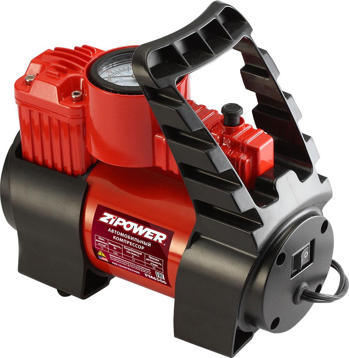 Компрессор автомобильный Zipower, с манометром. PM 6506 компрессор автомобильный zipower с манометром pm 6505