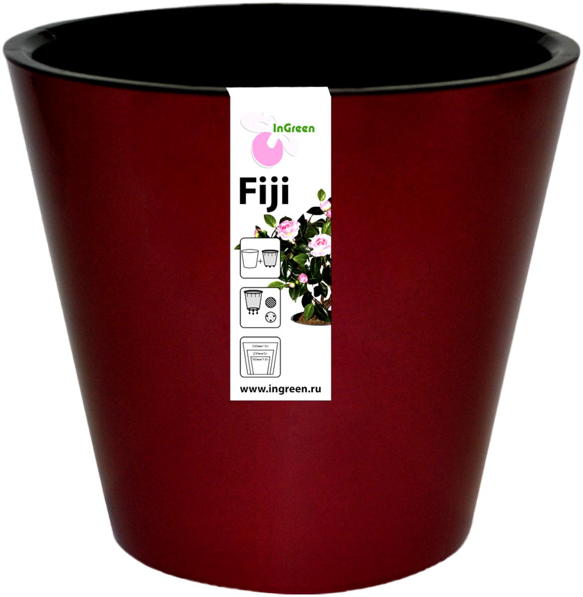 Фото - Горшок для цветов InGreen Фиджи, с системой автополива, цвет: бордовый, диаметр 23 см горшок фиджи 1 6л d16cм бордовый