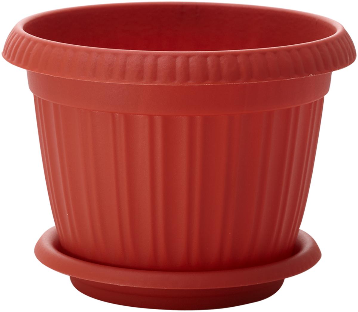 Горшок для цветов InGreen Таити, с подставкой, цвет: терракотовый, диаметр 18 см поддон для балконного ящика ingreen цвет белый длина 60 см