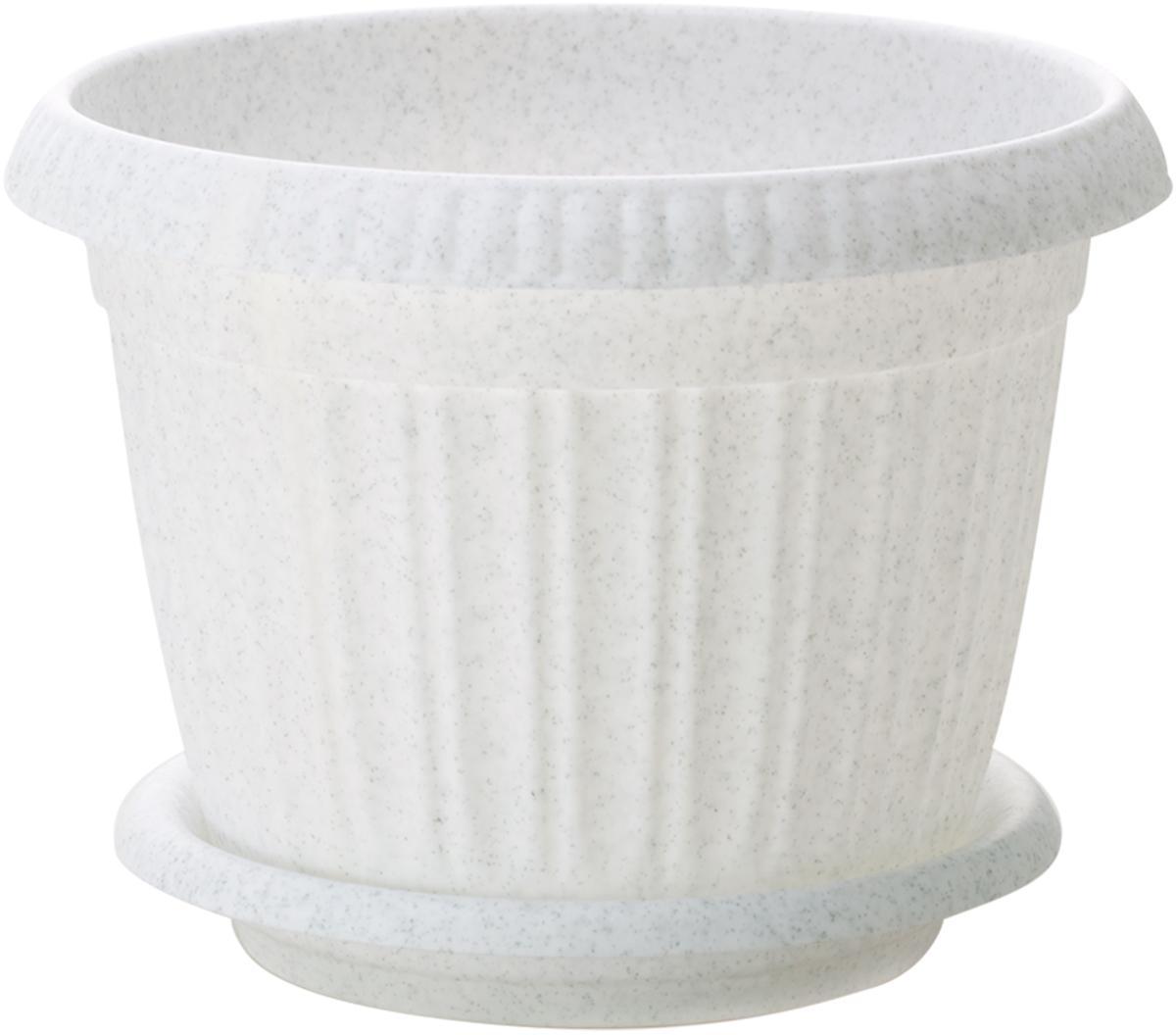 Горшок для цветов InGreen Таити, с подставкой, цвет: мраморный, диаметр 23 см поддон для балконного ящика ingreen цвет белый длина 60 см