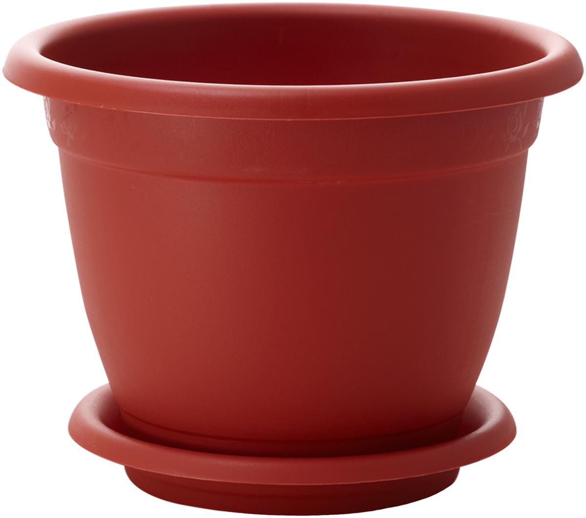 Горшок для цветов InGreen Борнео, с поддоном, цвет: терракотовый, диаметр 17 см поддон для балконного ящика ingreen цвет белый длина 60 см