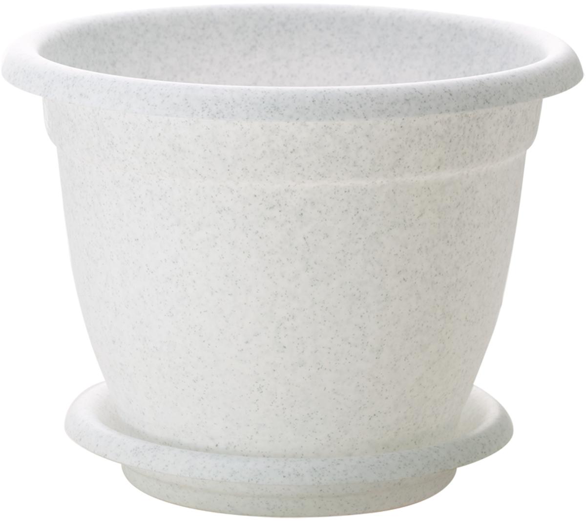 Горшок для цветов InGreen Борнео, с поддоном, цвет: мраморный, диаметр 21 см поддон для балконного ящика ingreen цвет белый длина 60 см