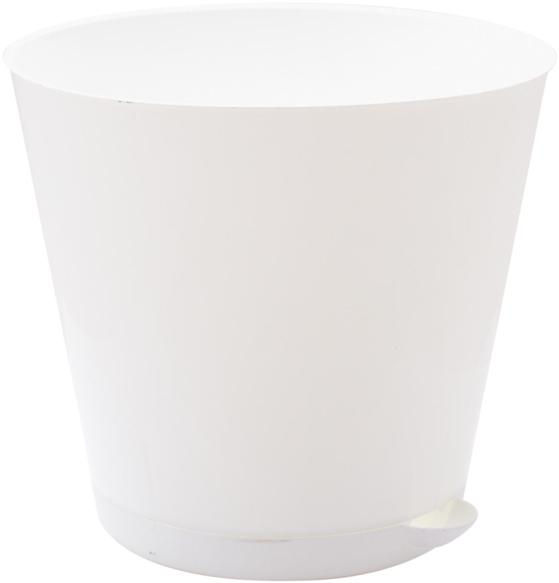 """Горшок для цветов InGreen """"Крит"""", с системой прикорневого полива, цвет: белый, диаметр 25,4 см"""
