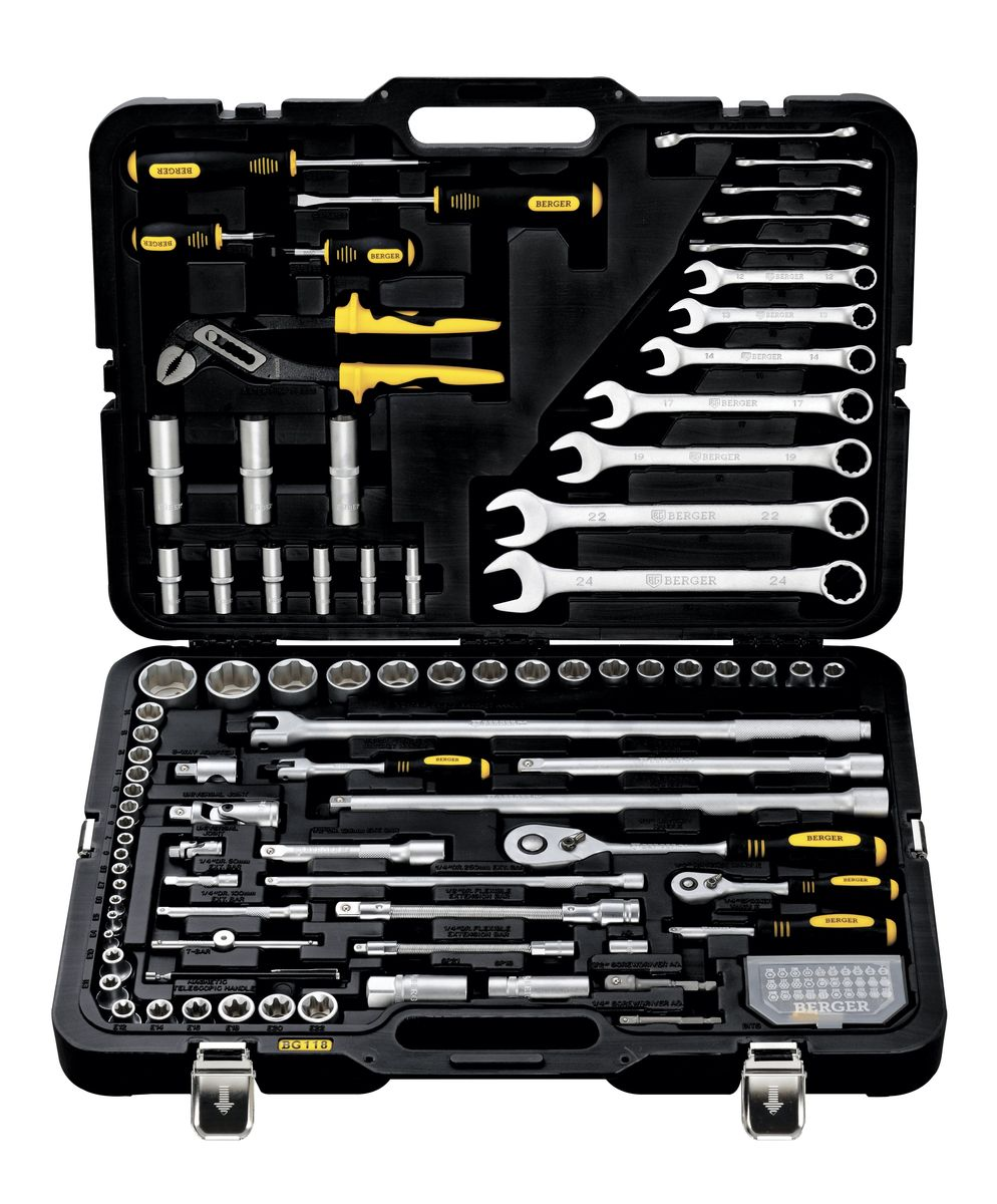 Универсальный набор инструментов Berger, 118 предметов. BG118-1214 набор торцевых головок matrix 6 ти гранных 1 4