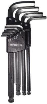 Набор шестигранников Г-образных Berger с шаровым профилем, 10 предметов. BG-10SHW набор ключей шестигранных berger bg 10sнw 10 предметов