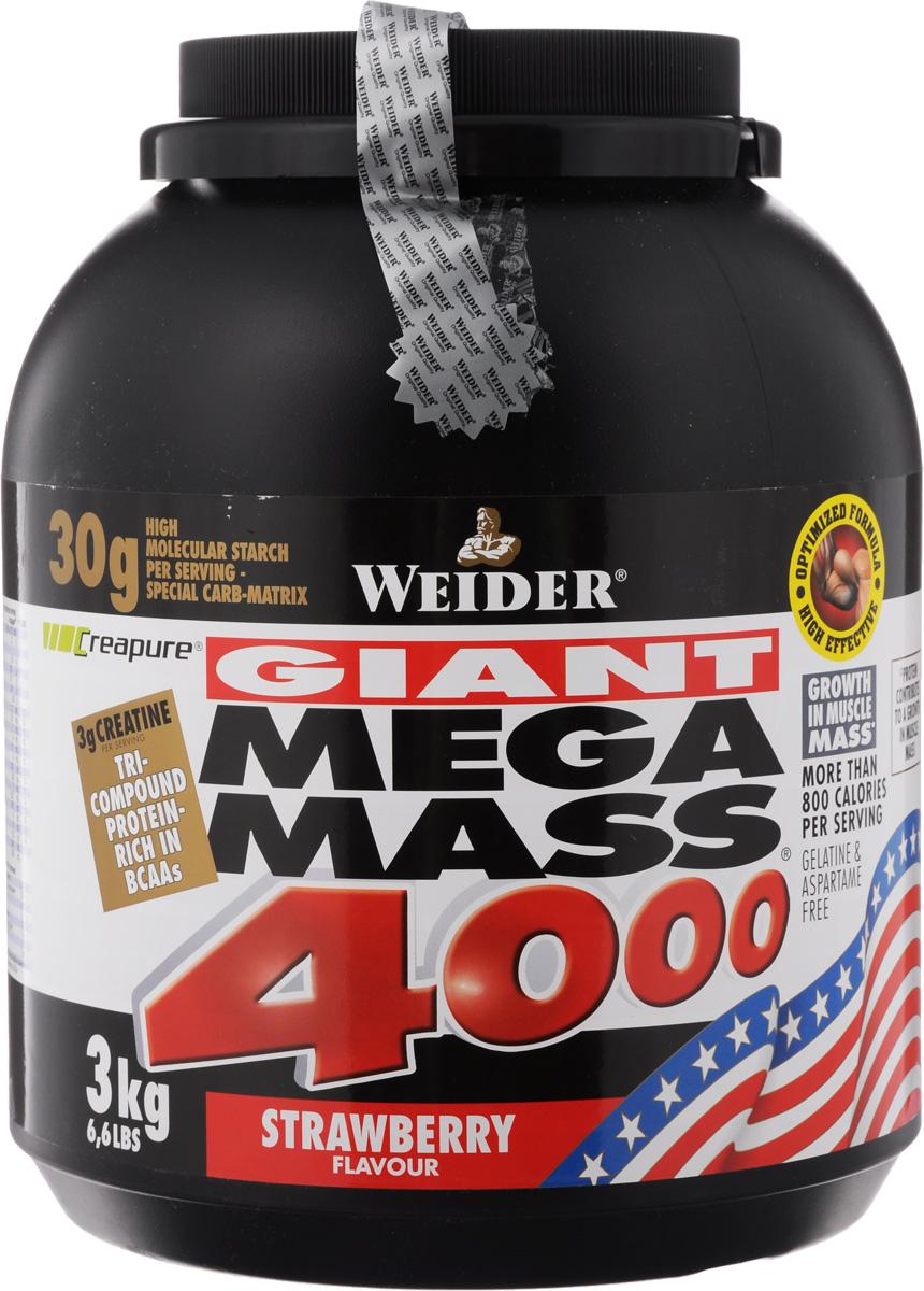 Гейнер Weider Mega Mass 4000, клубника, 3 кг цена