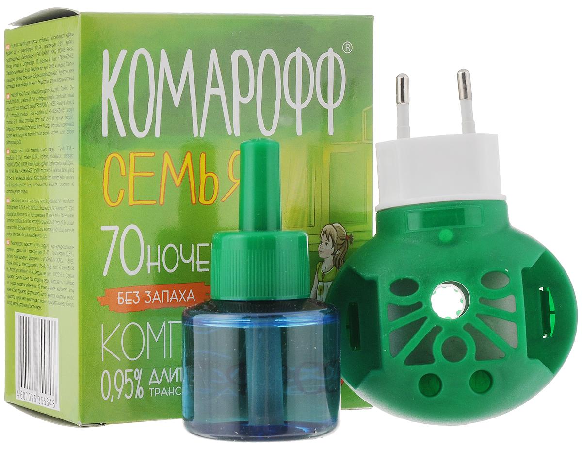 Фумигатор Комарофф Семья, универсальный, + жидкость от комаров, без запаха, с индикатором включения, 70 ночей, 45 мл фумигатор бэби дэта универсальный для детской комнаты жидкость от комаров с индикатором включения 45 ночей 30 мл