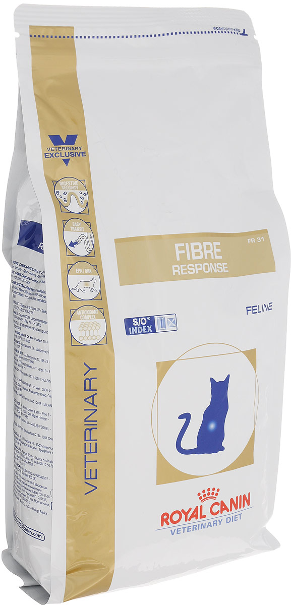 Корм сухой для кошек Royal Canin Fibre Response, диетический, при острых и хронических запорах, 2 кг35174Сухой диетический корм Royal Canin Fibre Response предназначен для кошек при остром или хроническом запоре. Противопоказан при кишечной непроходимости и расширении толстого кишечника (мегаколон). Длительность курса применения: При первых проявлениях заболевания применять в течение 3-4 недель. При хронических запорах необходимо длительное применение диеты. Сочетание высокоусвояемых белков (L. I. P. белки), пребиотиков, свекольного жома, риса и рыбьего жира обеспечивает максимальную защиту пищеварительной системы. Высокое содержание разных видов клетчатки (в том числе подорожника) улучшает кишечный транзит и размягчает фекалии у кошек, страдающих от запоров и низкой моторики кишечника. Длинноцепочечные жирные кислоты Омега 3 (эйкозапентаеновая и докозагексаеновая) уменьшают кожные реакции и обеспечивают целостность слизистой оболочки кишечника. Комплекс антиоксидантов синергичного действия снижает уровень окислительного стресса и борется со свободными радикалами. Полезная информация: Специфическая комбинация определенных видов клетчатки способствует формированию фекалий нормальной консистенции, не вызывает диареи, способствует улучшению прохождения содержимого кишечника и таким образом облегчает процесс дефекации у кошек, страдающих запорами. Состав: дегидратированный белок птицы, рис, кукуруза, пшеничная клейковина, животные жиры, кукурузная клейковина, оболочка и семена подорожника, гидролизат белков животного происхождения, экстракт цикория, минеральные вещества, яичный по... Рекомендуем!