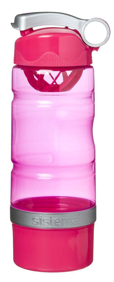 "Бутылка для воды ""Sistema"", спортивная, цвет: малиновый, 615 мл"