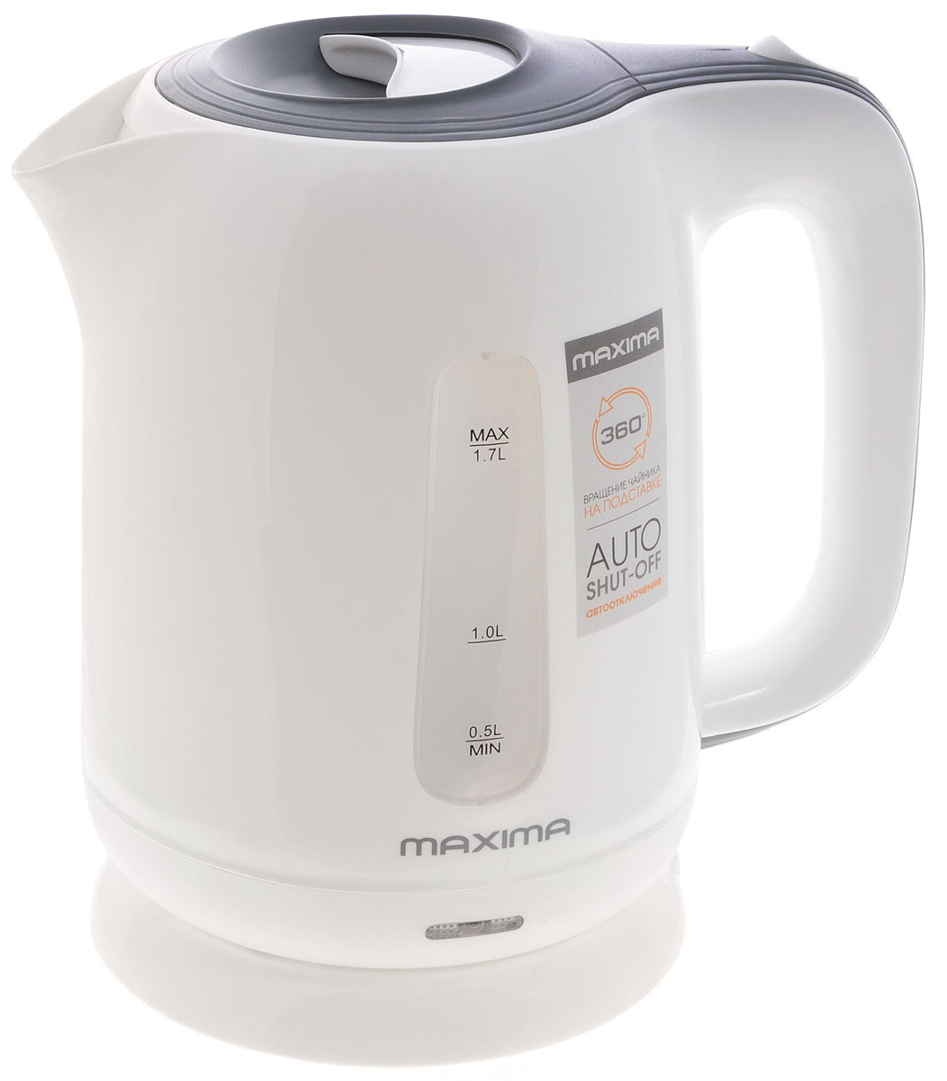 Электрический чайник Maxima MK-472MK-472Стильный чайник Maxima MK-472 из высококачественной пластмассы позволит быстро вскипятить нужное количество воды. Широко открывающаяся крышка, легкоснимаемый мелкопористый фильтр и дисковый нагревательный элемент - всё создано для комфортной эксплуатации и чистки чайника.