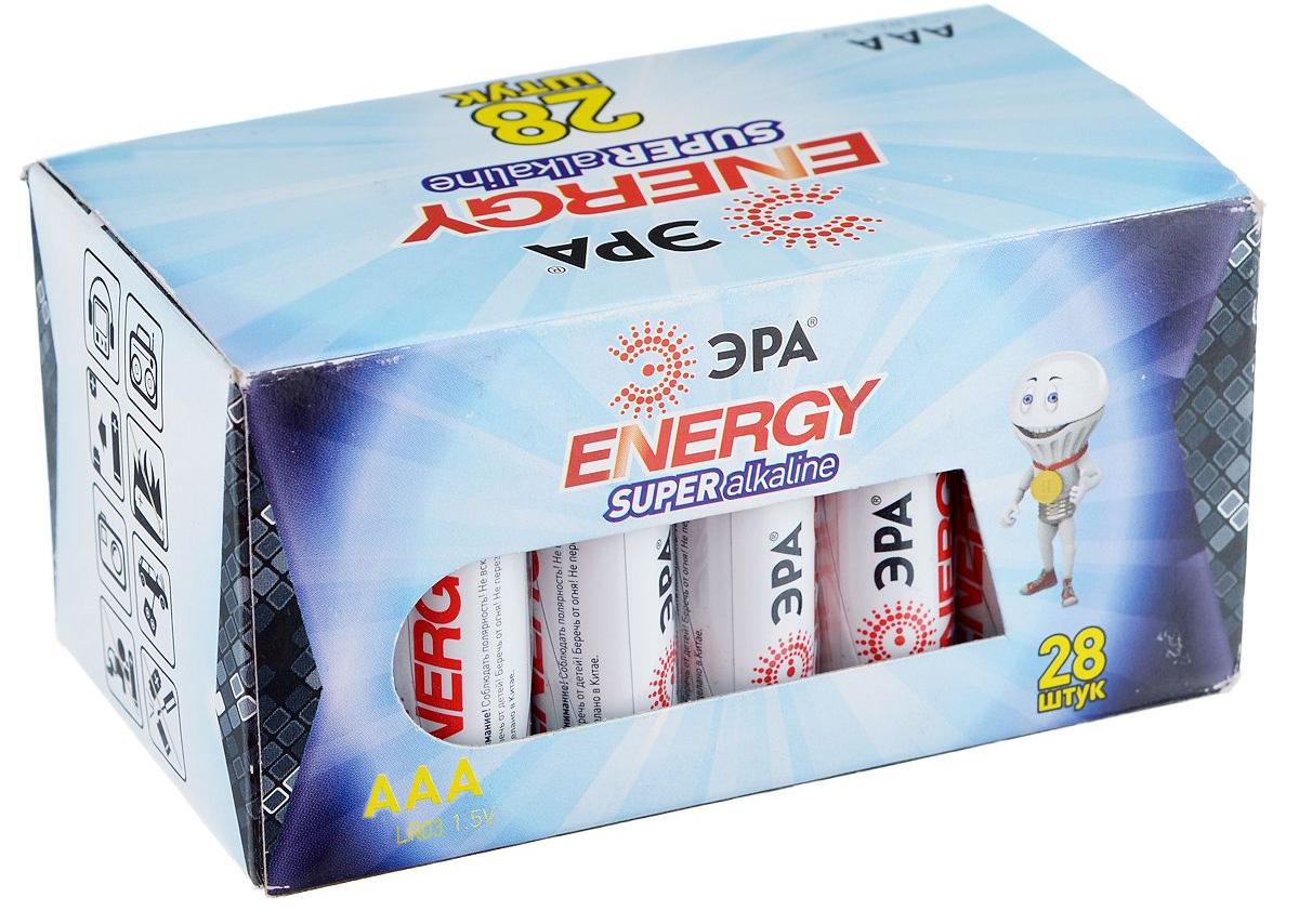 Батарейка алкалиновая ЭРА Energy, тип AAA (LR03), 1,5В, 28 шт батарейка алкалиновая эра energy тип a27 1bl 12в