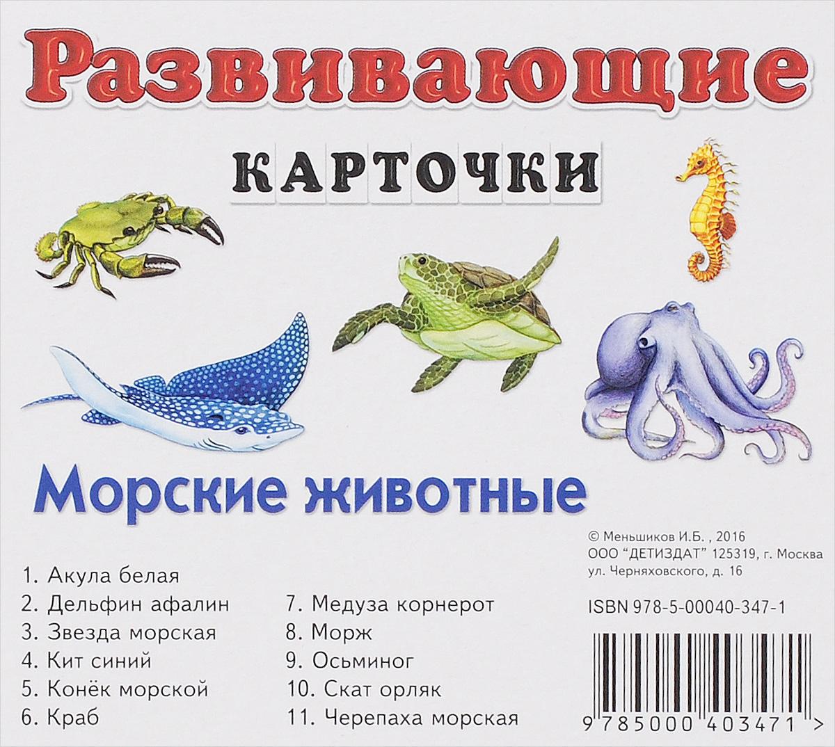 И. Б. Меньшиков Морские животные. Развивающие карточки (набор из 11 карточек) цена