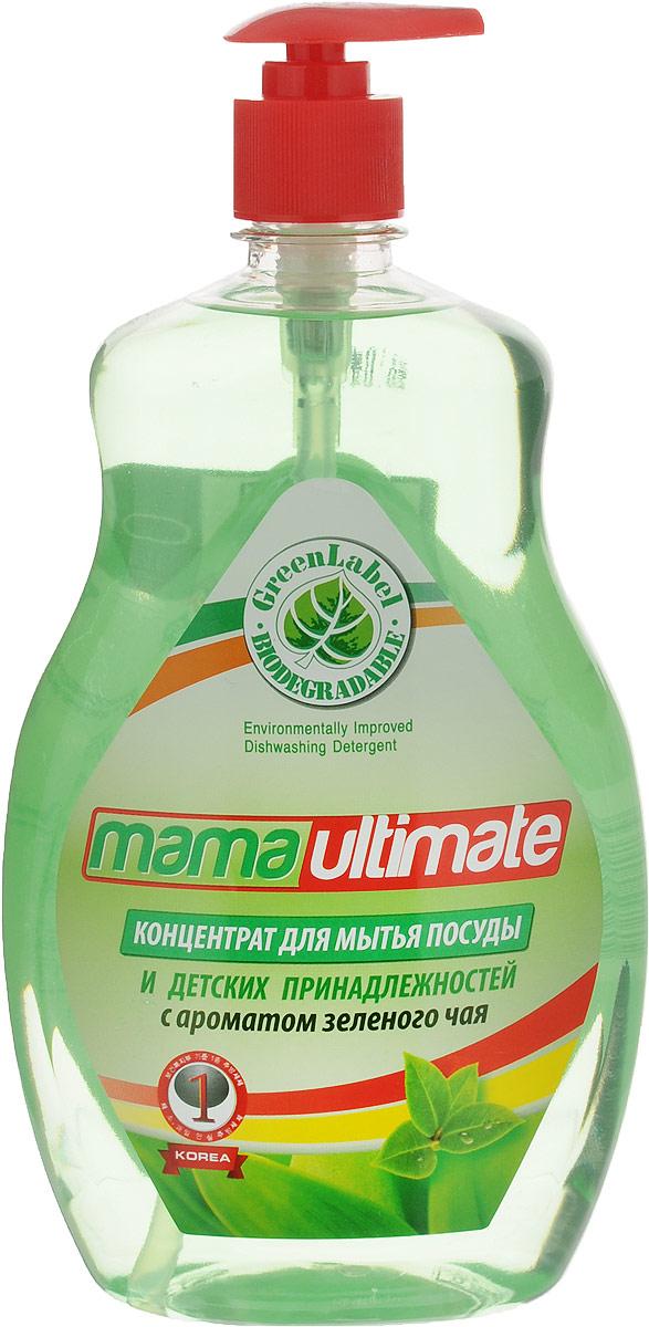 """Гель для мытья посуды и детских принадлежностей """"Mama Ultimate"""", концентрат, с ароматом зеленого чая, 1 л"""