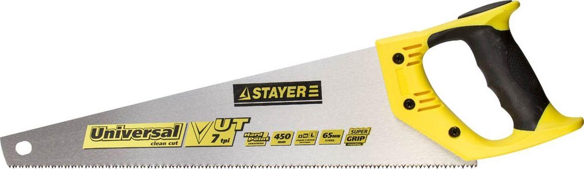 Ножовка Stayer Master по дереву, двухкомпонентная рукоятка, закаленный универсальный крупный зуб, 7TPI (3,5 мм), 450 мм цена