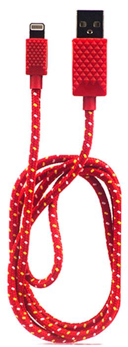 QUMO MFI кабель USB-Apple 8pin в тканевой оплетке, Red (1 м)