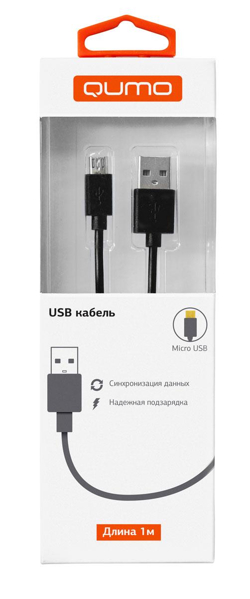 QUMO кабель microUSB-USB круглый, Black (1 м)
