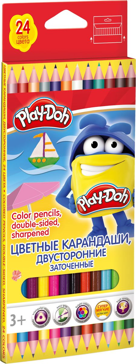 Play Doh Набор цветных карандашей 24 цвета 12 шт