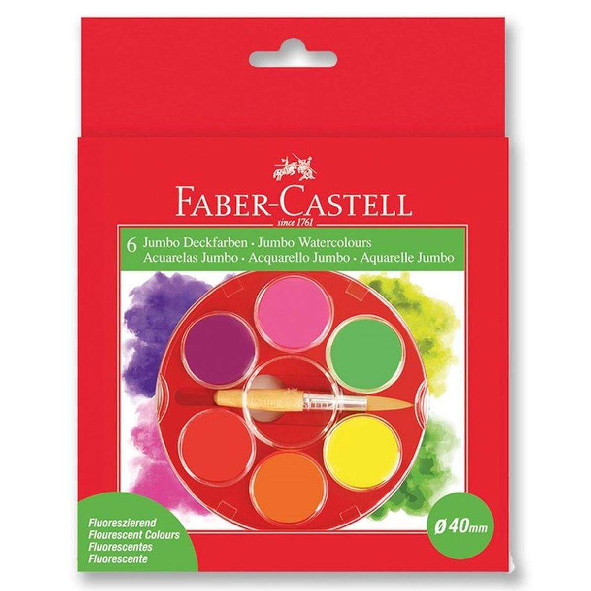 Faber-Castell Акварельные краски Jumbo неоновые 6 шт faber castell акварельные карандаши рыбки с кисточкой 36 шт