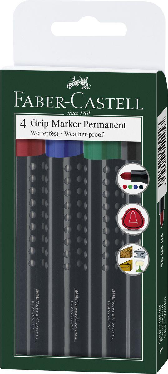 Faber-Castell Набор перманентных маркеров Grip 1504 4 шт faber castell маркер для белой доски grip 4 шт