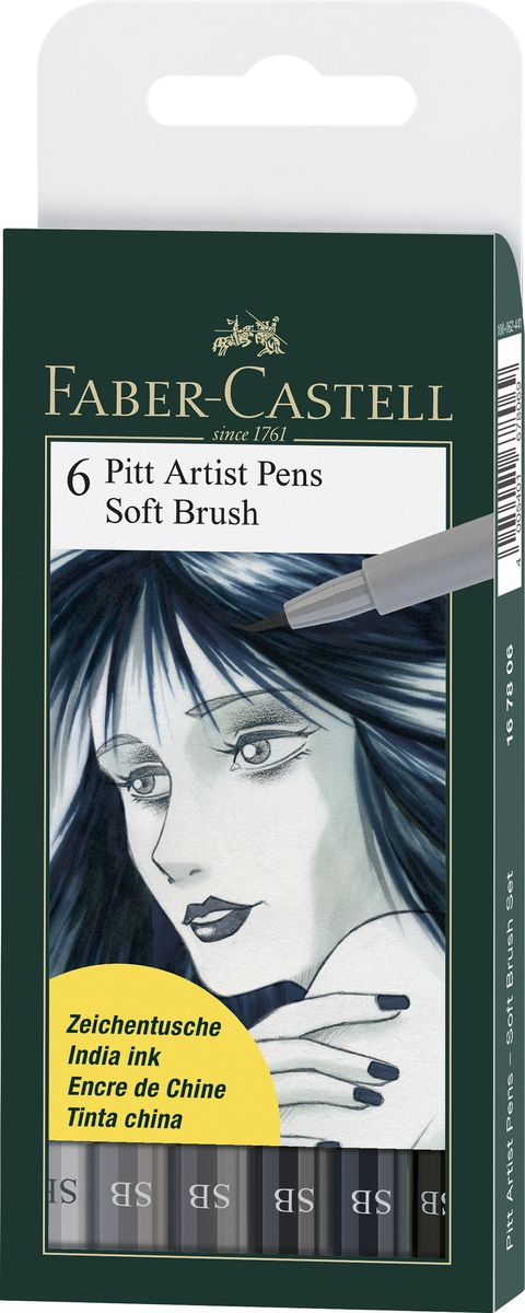 Faber-Castell Капиллярные ручки с кисточкой Pitt Artist Pens Soft Brush 6 цветов