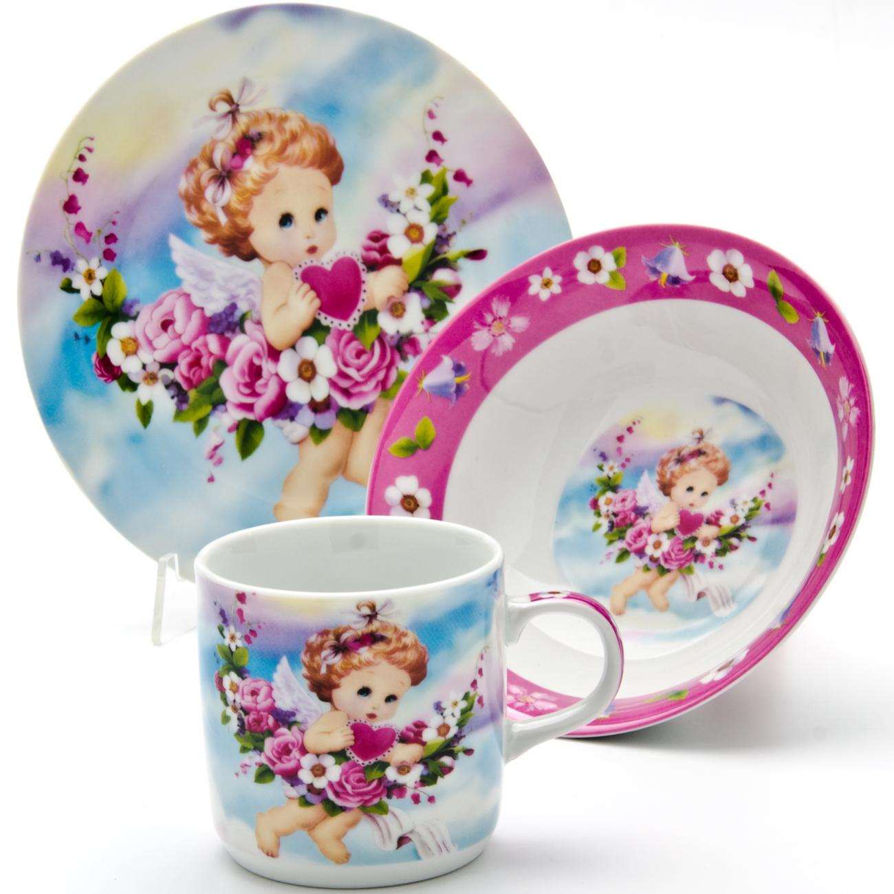 Набор посуды Loraine Ангел, 3 предмета набор посуды для детей loraine ангел lr 24027