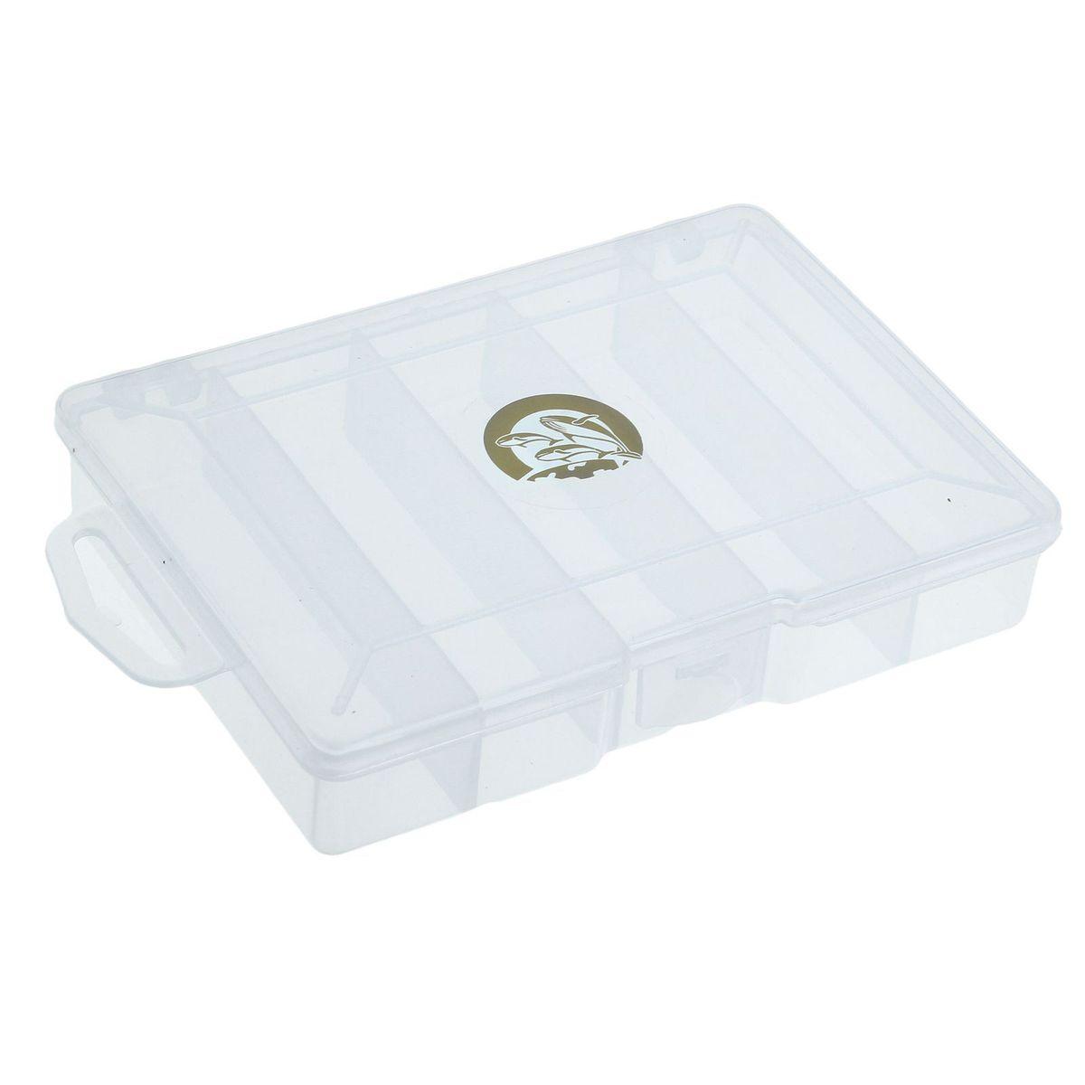 Коробка для крючков и насадок Три кита, 5 отделений, цвет: прозрачный, 15 х 10 х 3 см