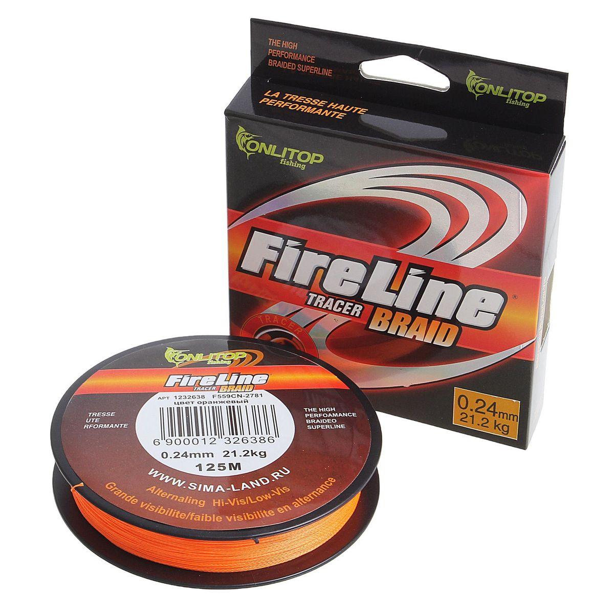 Шнур плетеный Onlitop Easy Cast, цвет: оранжевый, толщина 0,24 мм, длина 125 м