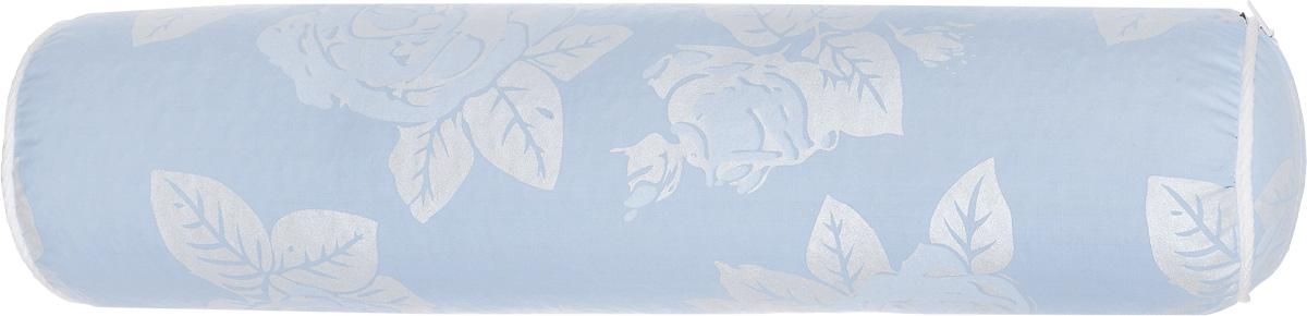 Подушка-валик Smart Textile, наполнитель: бамбуковое волокно, цвет: голубой, серебристый, 41 х 10 см аксессуар подушки на ремень безопасности smart textile автоуют детский совушка