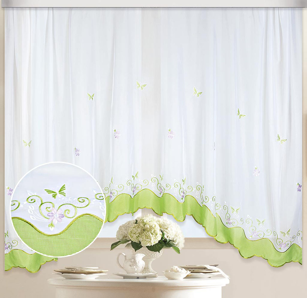 "Штора ""Арка. Бабочка"", на ленте, цвет: белый, салатовый, высота 170 см. 80117"
