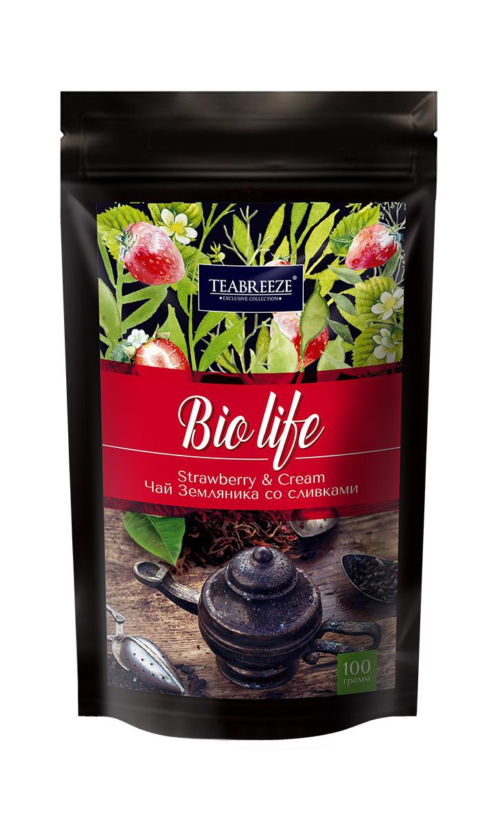 Teabreeze листовой ароматизированный чай земляника со сливками, 100 г ароматизированный чёрный чай земляника со сливками 50 г