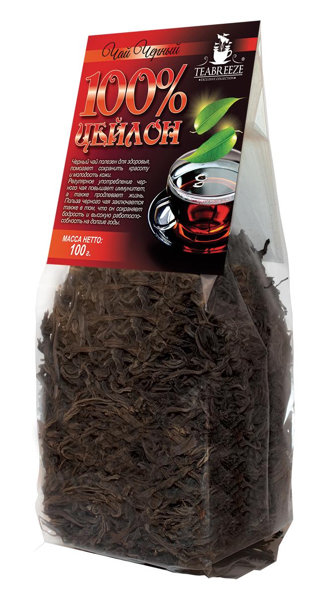 Teabreeze Цейлон крупнолистовой черный байховый чай, 100 г чай черный байховый бонтон крепкий цейлонский крупнолистовой 726 с ароматом бергамота 100 г