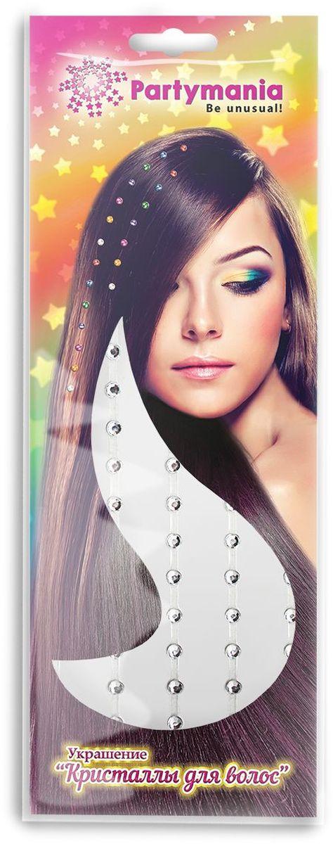 цена Partymania Украшение Кристаллы для волос цвет серебристый в интернет-магазинах