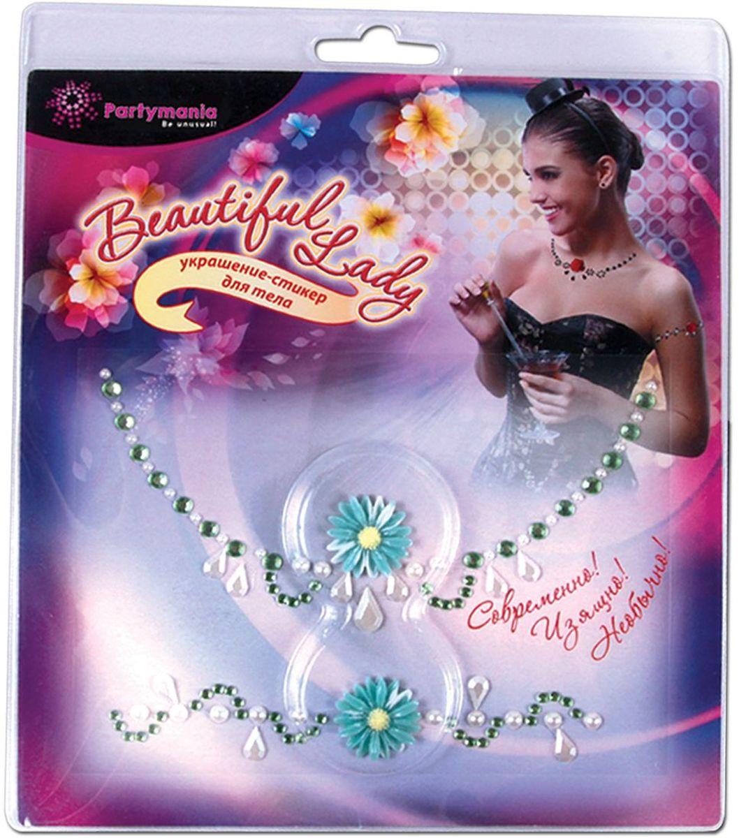 Partymania Украшение-стикер для тела 2 шт Beautiful Lady Ромашка цена