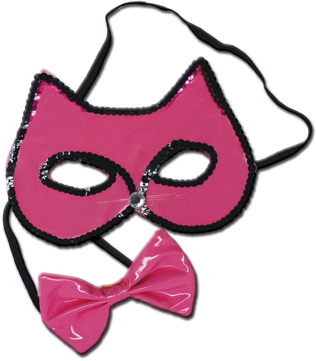 Partymania Маска карнавальная детская Кошечка с бабочкой цвет розовый черный