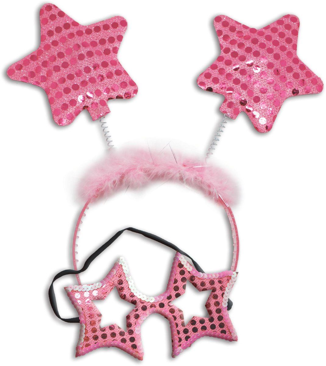 Partymania Карнавальный набор Маска и ободок со звездочками цвет светло-розовый