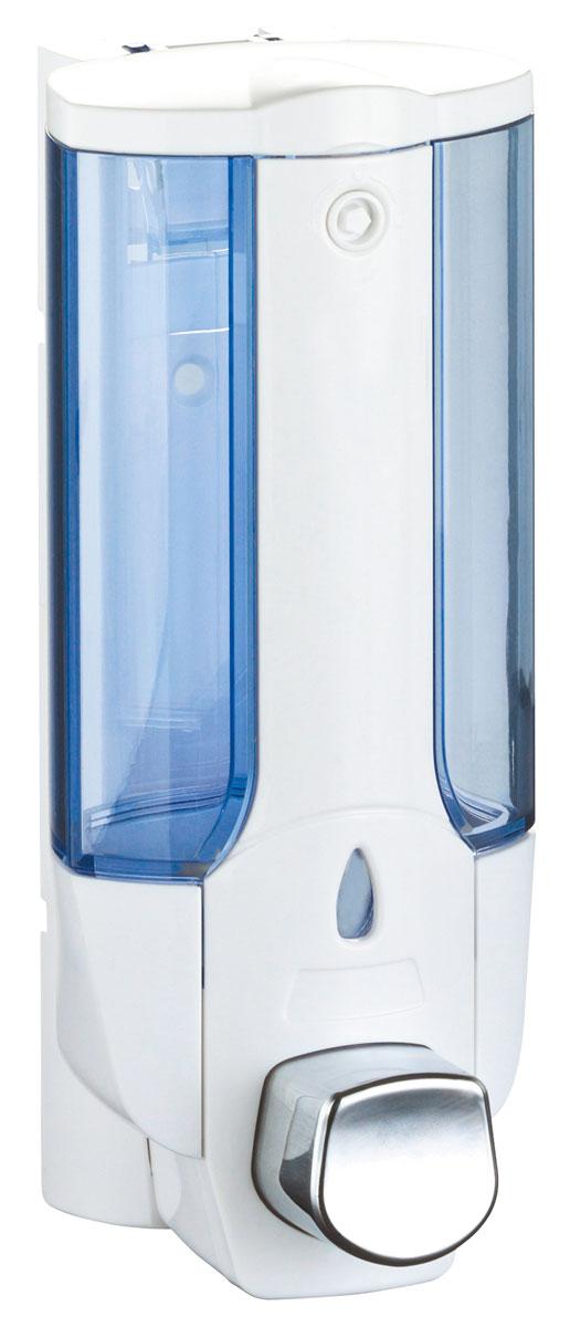 """Дозатор для жидкого мыла """"Axentia"""", цвет: белый, голубой, 380 мл"""
