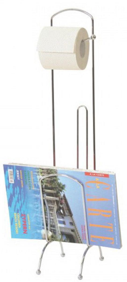 Держатель для туалетной бумаги и журналов Axentia, с накопителем для 3 рулонов, высота 67 см держатель для туалетной бумаги axentia с накопителем для 3 рулонов высота 66 см