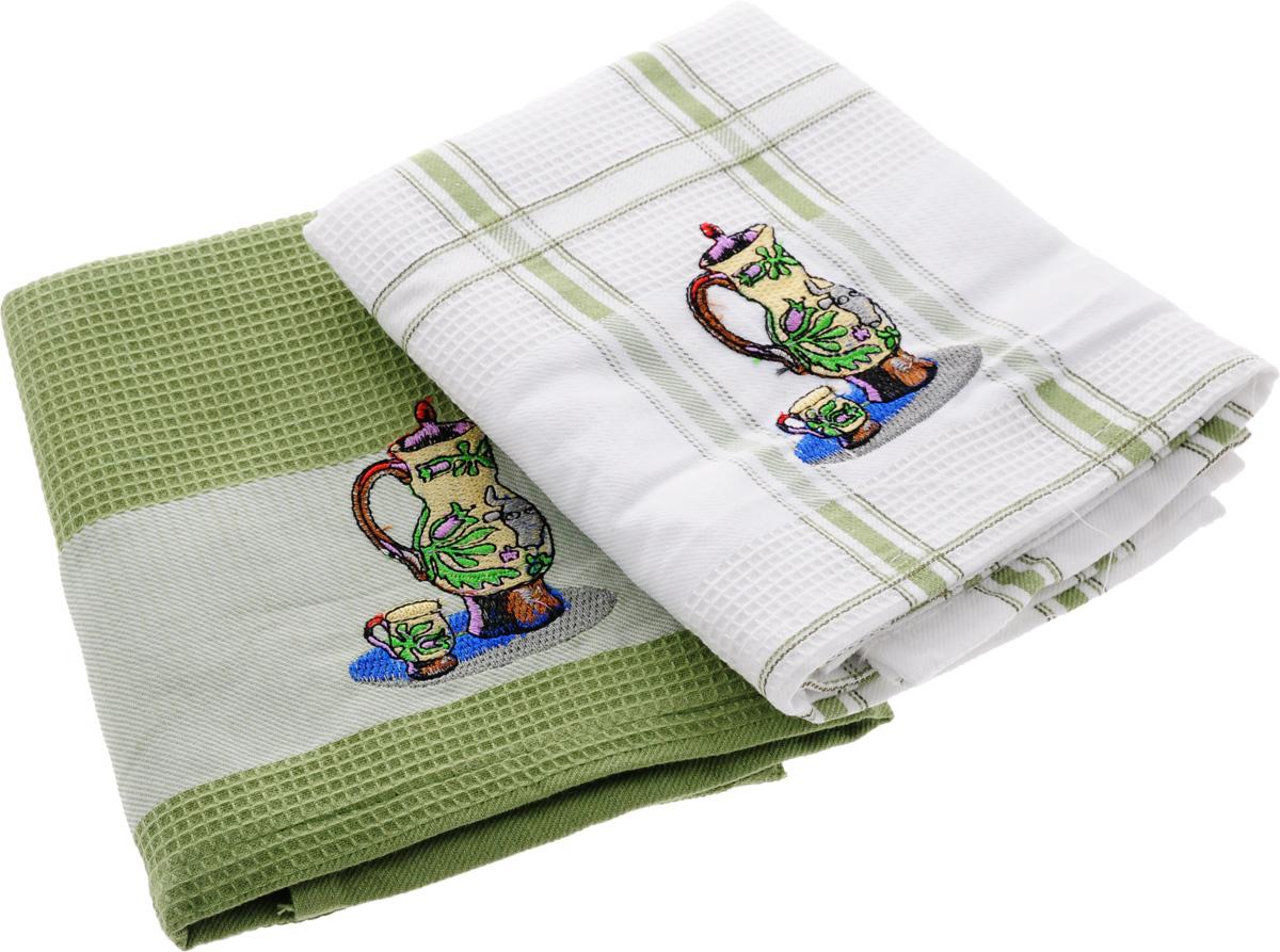 Набор кухонных полотенец Soavita Дуэт, цвет: белый, оливковый, 43 х 68 см, 2 шт. 42835 набор кухонных полотенец soavita пасха цвет бежевый 40 х 60 см 3 шт