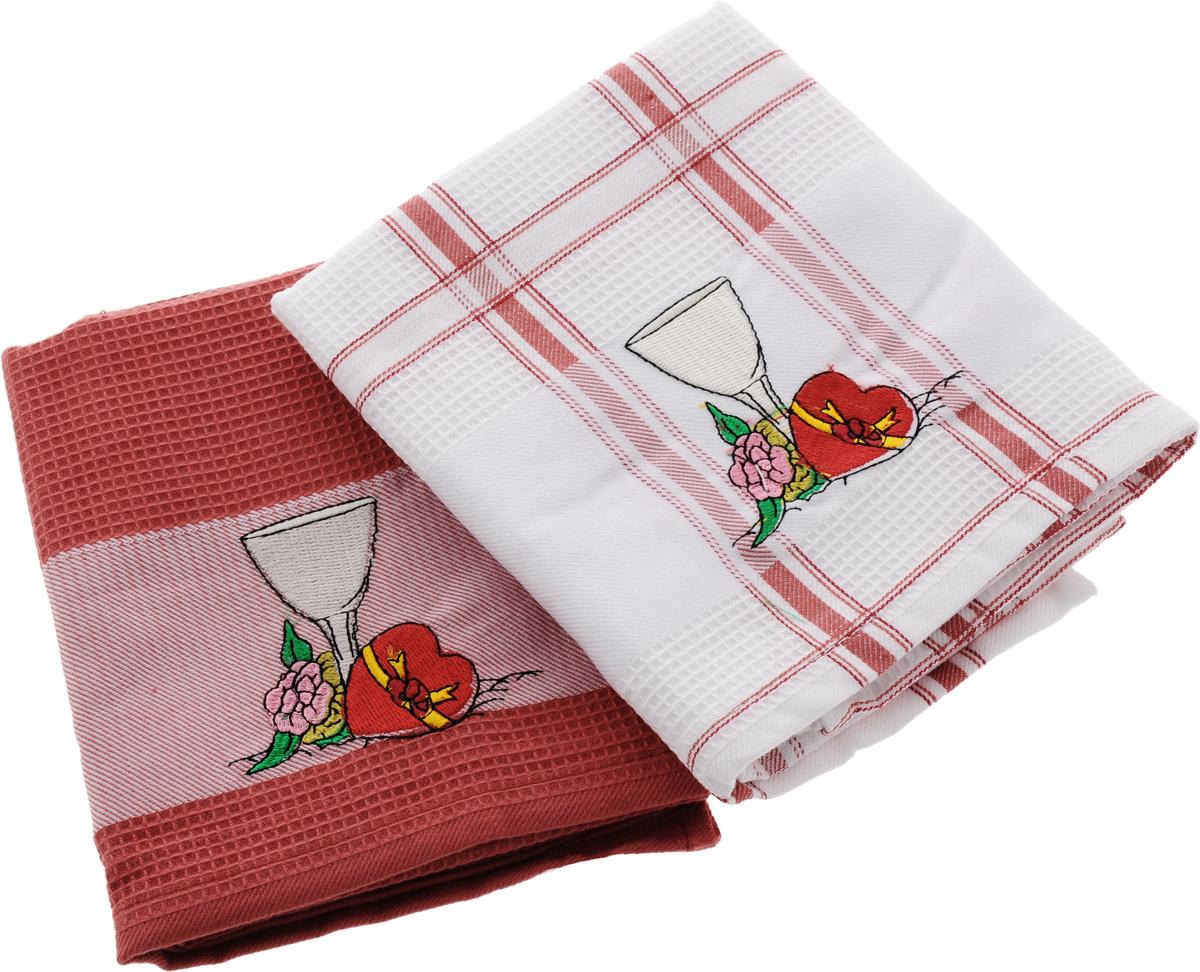 Набор кухонных полотенец Soavita Дуэт, цвет: красный, белый, 43 х 68 см, 2 шт. 42834 набор кухонных полотенец soavita пасха цвет бежевый 40 х 60 см 3 шт