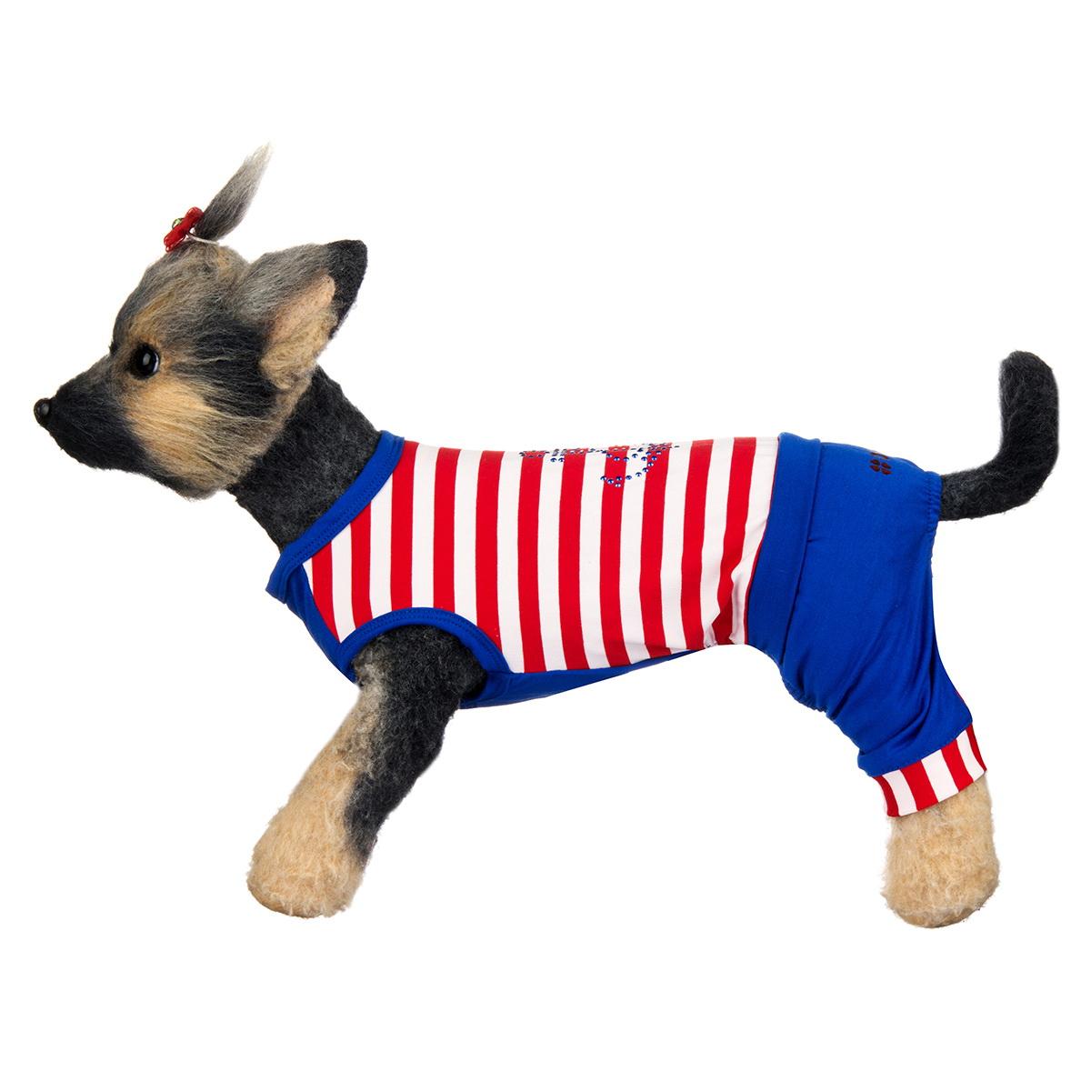 "Комбинезон для собак Dogmoda ""Круиз"", унисекс, цвет: красный, синий, белый. Размер 1 (S)"
