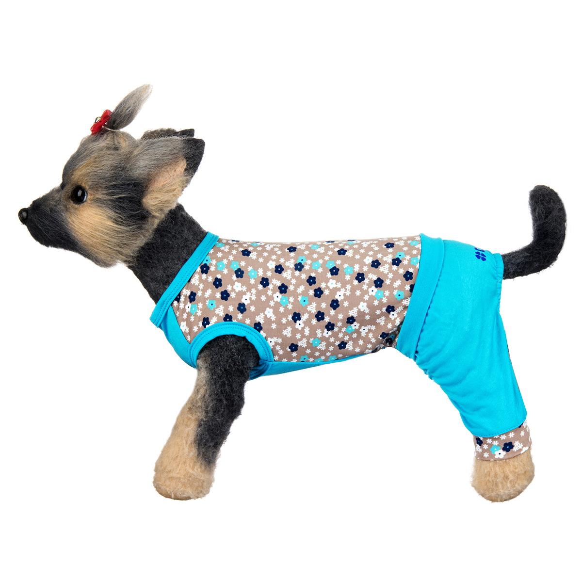 "Комбинезон для собак Dogmoda ""Алекс"", унисекс, цвет: голубой, серый. Размер 1 (S)"