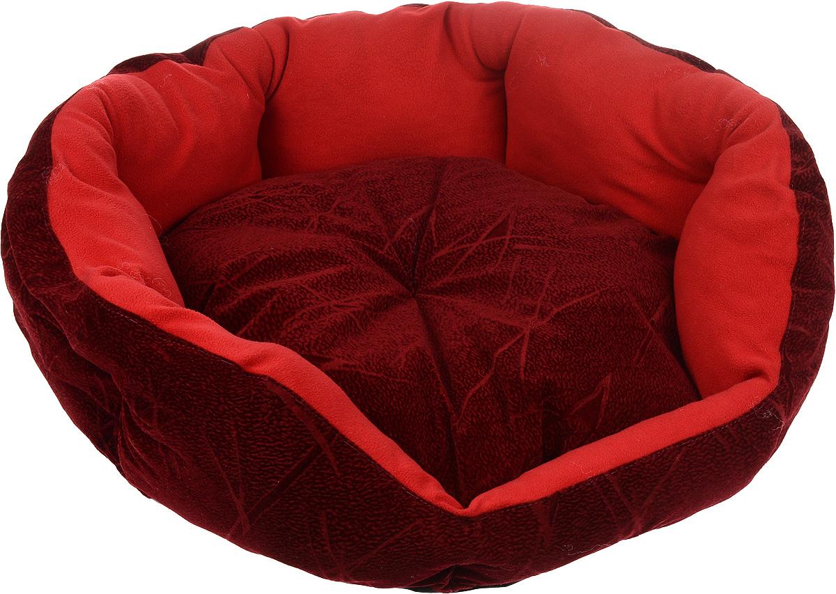 """Лежак для животных ЗооМарк """"Цветочек"""", цвет: бордовый, красный, диаметр 64 см"""
