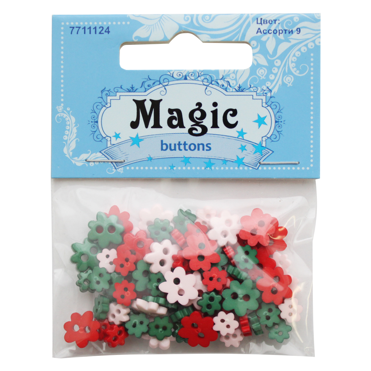 """Пуговицы декоративные Magic Buttons """"Цветы"""", цвет: красный, зеленый, 5 г. 7711124"""