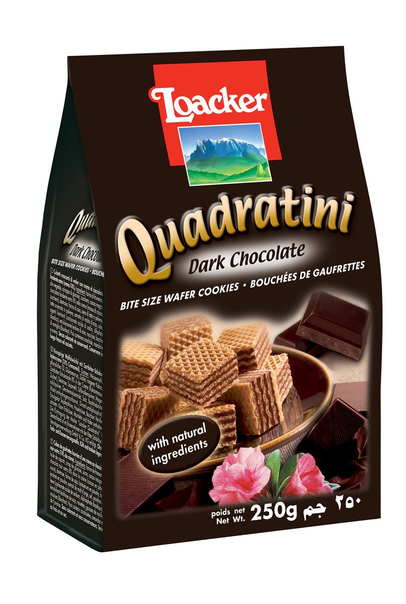 Loacker Квадратини вафли темный шоколад, 250 г10450-004Нежные и восхитительные вафли Loacker изготовлены по лучшим рецептам только из натуральных ингредиентов. Они тают во рту благодаря воздушной вафельной основе и большому содержанию кремовой начинки (74%). Это вафли в щедрой упаковке по 250 г, в которой, как минимум, 65 порционных вафель-кубиков; или по 220 г (55 восхитительных кубиков). Упаковка снабжена защитной полосой, чтобы ваши вафли всегда оставались свежими и хрустящими.