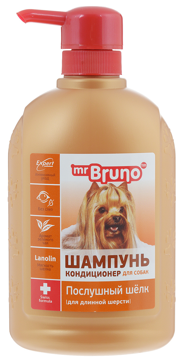 Шампунь-кондиционер для собак Mr. Bruno Послушный шелк, для длинной шерсти, 350 мл mr bruno mr bruno шампунь кондиционер для короткой шерсти глянцевый блеск