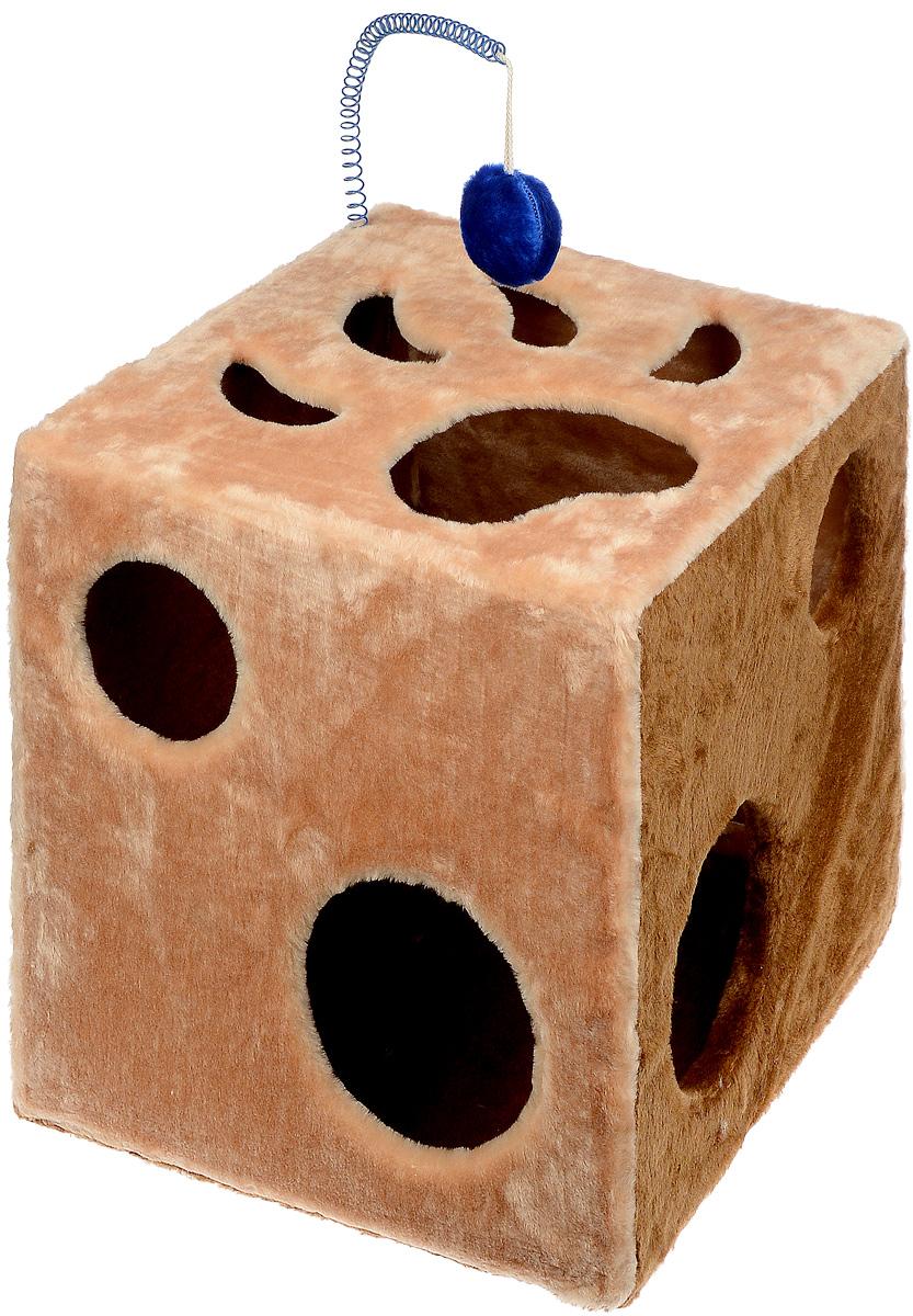 Домик для кошек ЗооМарк Кубик с лапкой, с игрушкой, цвет: бежевый, коричневый, 42 х 42 х 42 см цена
