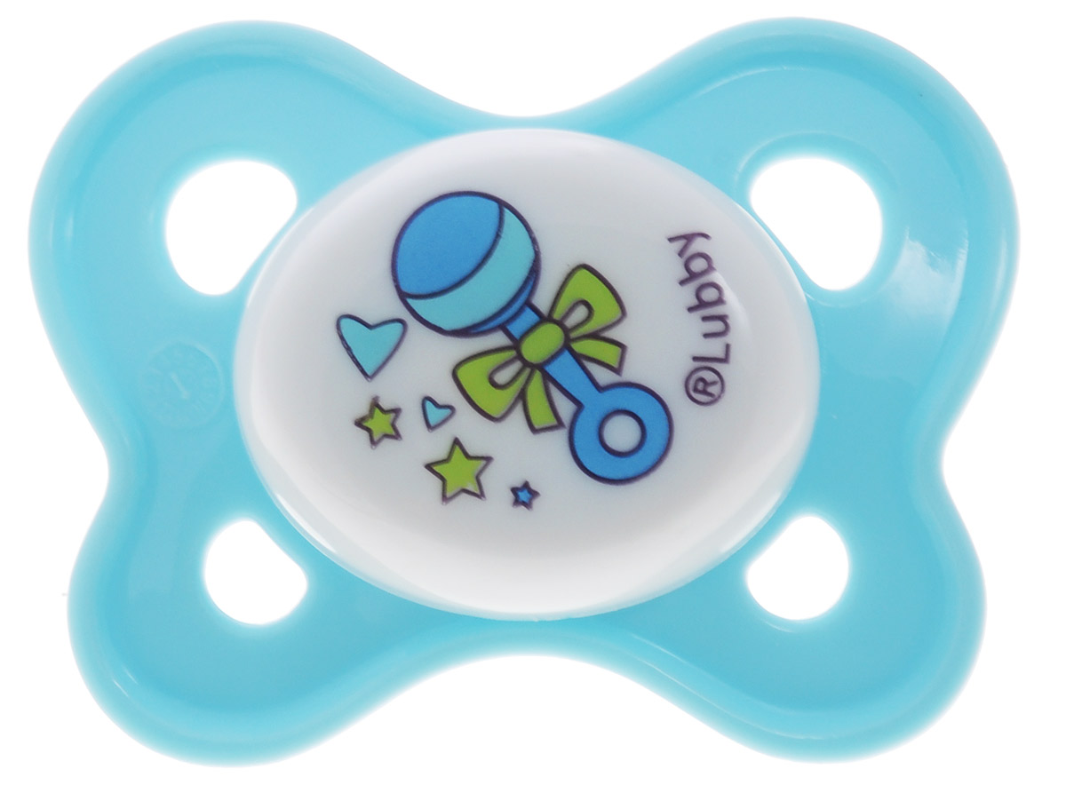 Lubby Пустышка силиконовая Кнопочка от 0 месяцев цвет голубой lubby соска силиконовая молочная just lubby